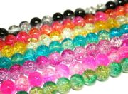 8mm multi-colour crackled glass beads